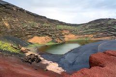El Golfo bay on the Atlantic Ocean. Lanzarote. Canary Islands Royalty Free Stock Photo