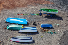 Green Lagoon at El Golfo with fishing boats on the beach, Lanzarote Royalty Free Stock Images