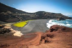 Green Lagoon at El Golfo, Lanzarote, Canary Islands Stock Photography