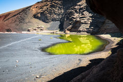 Green Lagoon at El Golfo, Lanzarote, Canary Islands Stock Photo