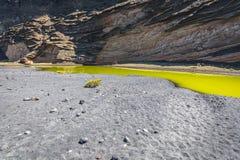 Green Lagoon at El Golfo, Lanzarote, Canary Islands Royalty Free Stock Photos