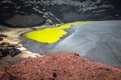 Green Lagoon at El Golfo, Lanzarote, Canary Islands Royalty Free Stock Photo