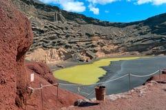 Green Lagoon, El Golfo, Lanzarote island, Spain Stock Photography