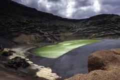 The Green Lagoon - Lago Verde, El Golfo, Lanzarote, Canary Islands Stock Photos