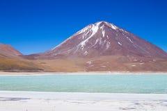 The green Laguna Verde,Bolivia royalty free stock photos