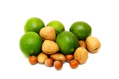 Green laime with nuts Stock Photos
