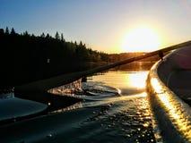 Green Lake. Beautiful sunset at Green lakes Lithuania royalty free stock images