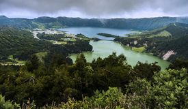 Green Lake and Blue Lake. Sete Cidades, Azores archipelago, Port. Lagoa Verde and Lagoa Azul, two adjacent lakes in a volcanic crater called Sete Cidades. In Sao royalty free stock photos