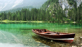 Green lake and boat Royalty Free Stock Photography