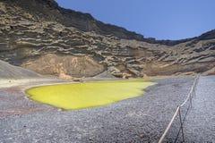 Green lake in El Golfo, Lanzarote Royalty Free Stock Image