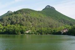green lake at foot of mountain Mangup, Crimea Royalty Free Stock Photo