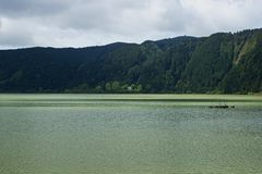 Green lake of furnas Sao Miguel, The Azores Islands, Portugal Stock Images