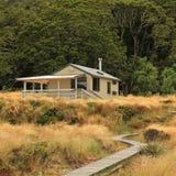 Green lake hut, public shelter in the Fjordland National Park Stock Photos