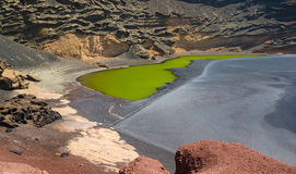 Green lake on Lanzarote Royalty Free Stock Images