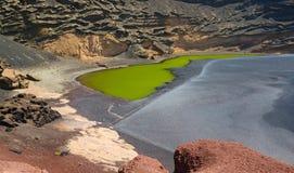 Green lake on Lanzarote Royalty Free Stock Images