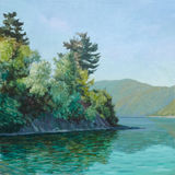 Green lake in the morning. (oil painting royalty free illustration