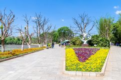 Green Lake Park also known as Cui Hu Park is one of the most beautiful parks in Kunming city. Kunming,China - April 8,2017 : Green Lake Park also known as Cui Stock Photography