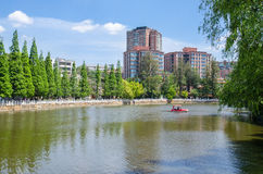 Green Lake Park also known as Cui Hu Park is one of the most beautiful parks in Kunming city. Stock Photo