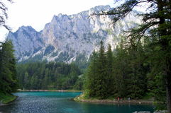 The Green Lake in Tragoess, Austria. Grüner See (Green Lake) is a lake in Styria, Austria near the town of Tragöß. The lake is surrounded by the Hochschwab Stock Image