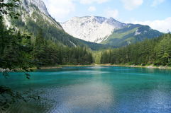 The Green Lake in Tragoess, Austria. Grüner See (Green Lake) is a lake in Styria, Austria near the town of Tragöß. The lake is surrounded by the Hochschwab Stock Images