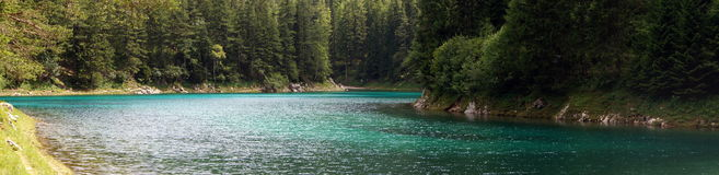 The Green Lake in Tragoess, Austria (panorama). Grüner See (Green Lake) is a lake in Styria, Austria near the town of Tragöß. The lake is surrounded by the Stock Images
