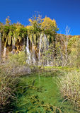 Green lake under Plitvice waterfall Stock Photo