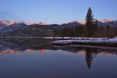 Green Lake and Wedge Mountain in Whistler Stock Image
