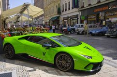 Green Lamborghini. In Carlsbad. Czech Republic royalty free stock photos