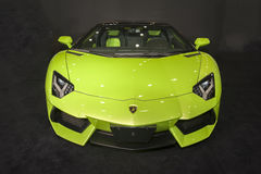 Green lamborghini roadster car Stock Image