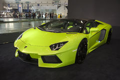 Green lamborghini roadster car Royalty Free Stock Images