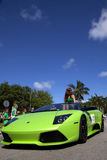 Green Lamborghini in Saint Patrick's Day Parade Royalty Free Stock Photos