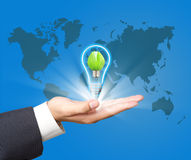 Green  lamp on hand Royalty Free Stock Photos