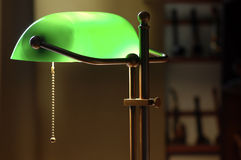 Green lamp light. Gentle light green old lamp in room Royalty Free Stock Photos