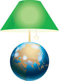 Green lamp shade. Located over globe model. Separately on the white Stock Images