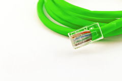Green lan telecommunication cable isolated on white background Stock Photos