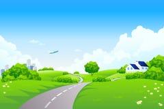 Green landscape vector illustration