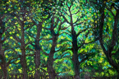Green landscape. Acrylic painting landscape with green trees and light Royalty Free Stock Images