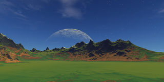 Green landscape. With mountains and deep blue sky stock illustration