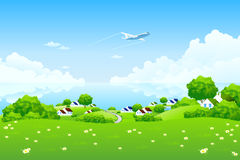 Green Landscape with aircraft Stock Photography