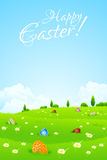 Green Landscape Background with Easter Eggs Royalty Free Stock Photos