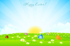 Green Landscape Background with Easter Eggs Royalty Free Stock Photo