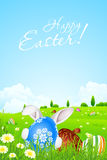 Green Landscape Background with Easter Eggs Stock Image