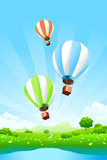 Green Landscape with Balloons Royalty Free Stock Images