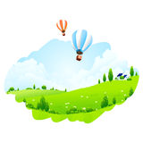 Green Landscape with Balloons Stock Image