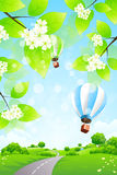 Green Landscape with Balloons Stock Images