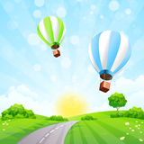 Green Landscape with Balloons Stock Photos