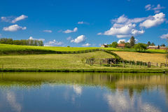 Green landscape and blue lake and sky Stock Image