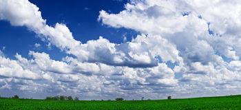Green landscape and blue sky Royalty Free Stock Images