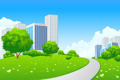 Green landscape with city Stock Image