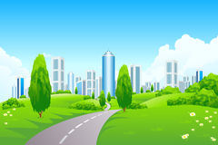 Green landscape with city Stock Photo